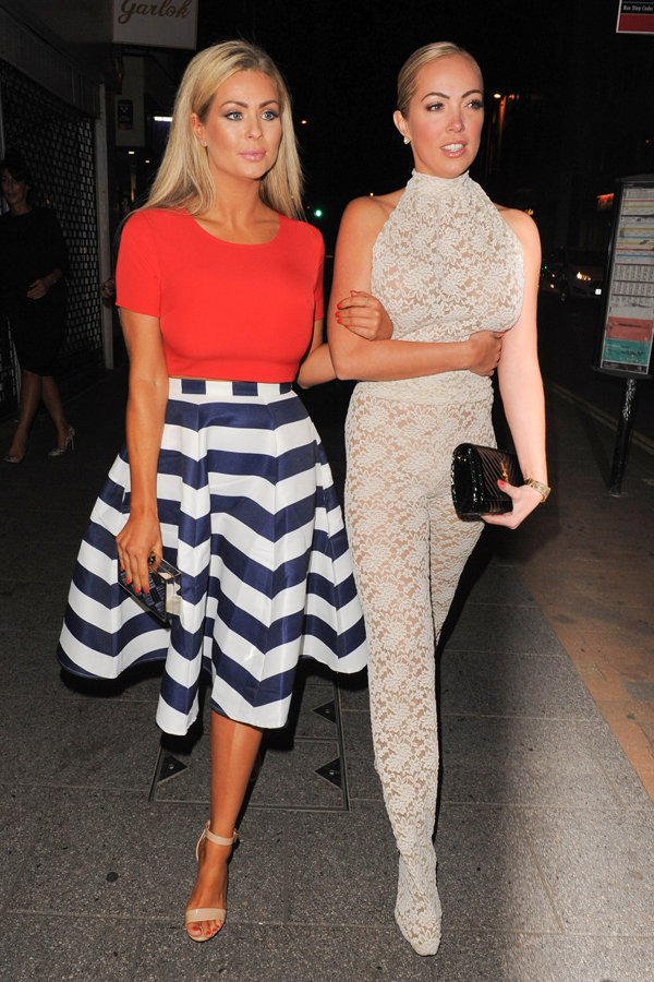Aisleyne Horgan-Wallace and Nicola McLean arrive at Chloe Sims' launch party
