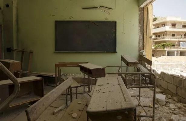 Destroyed school in Syria