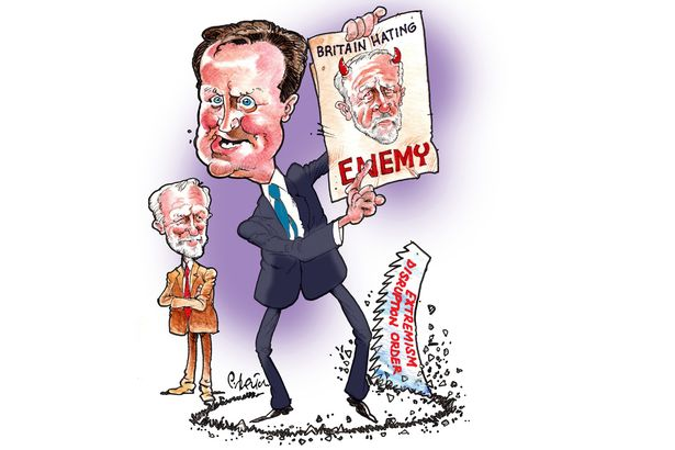 David Cameron's anti-Corbyn propaganda, cartoon