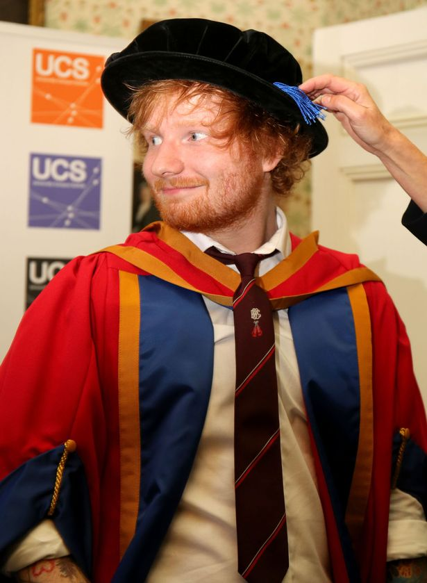 "Ed Sheeran receiving an honorary degree from University Campus Suffolk in Ipswich for his ""outstanding contribution to music"""