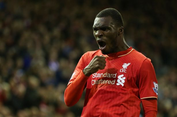 Christian Benteke celebrates scoring Liverpool's first goal