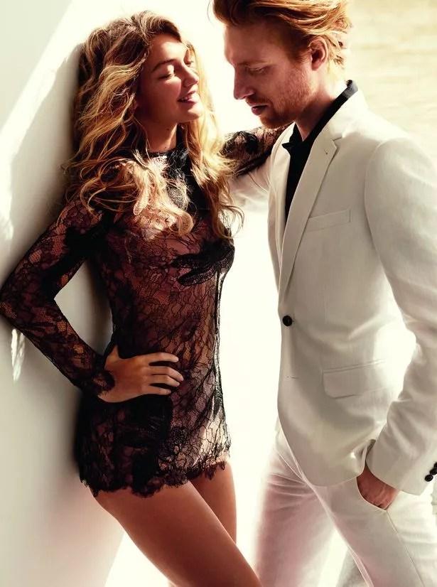 Gigi Hadid in Gucci dress & Domhnall Gleeson in Dries Van Noten suit