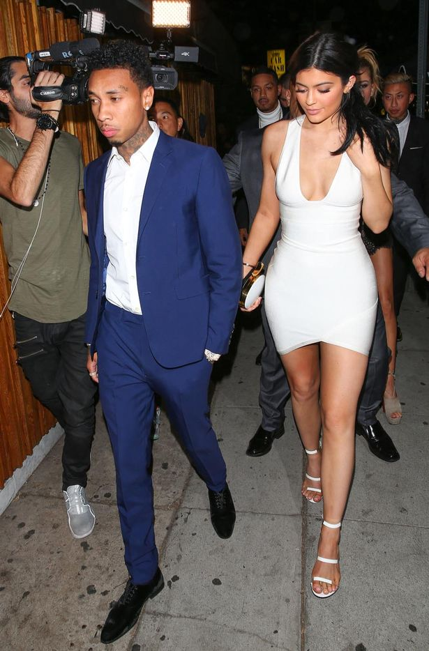 Kylie Jenner with her boyfriend, Tyga, arriving together at The Nice Guy for Justin Bieber's party