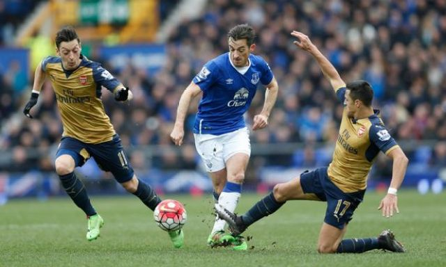 Alexis Sanchez and Mesut Ozil in action with Leighton Baines