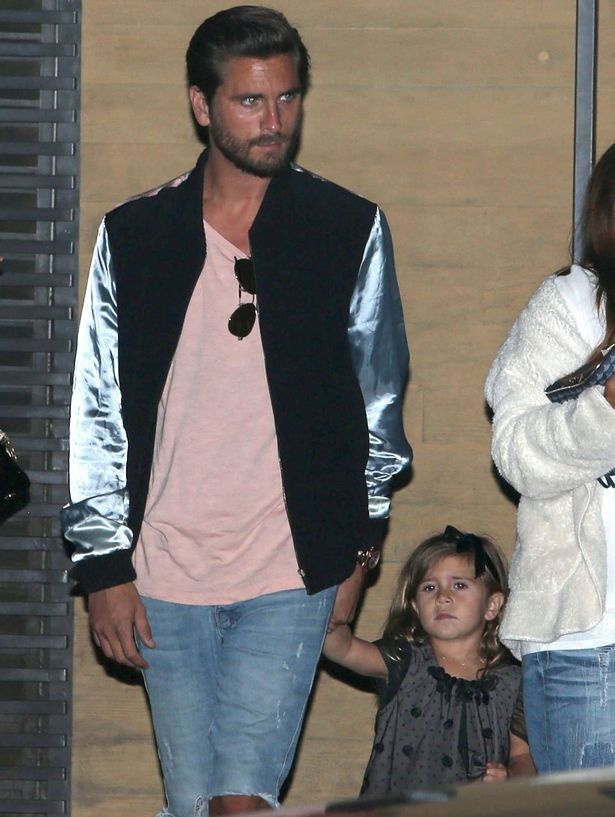 Scott Disick and Penelope Disick at Scott Disick's 33rd birthday dinner at Nobu in Malibu, California