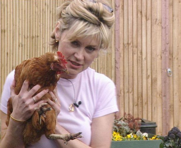 Celebrity Big Brother March 2001 - Anthea Turner gets to know Marjorie the Chicken