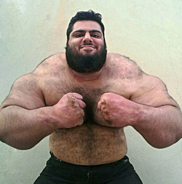 This is the Persian Hercules or Iranian Hulk, a huge weightlifter from Iran who is astounding social media with his sheer physical size