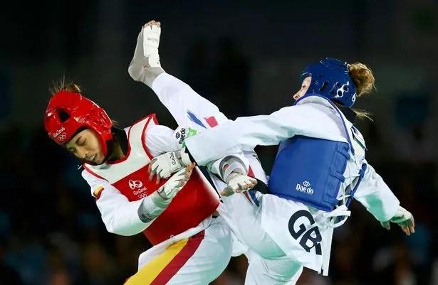 Jade Jones (GBR) of United Kingdom competes against Eva Calvo Gomez (ESP) of Spain