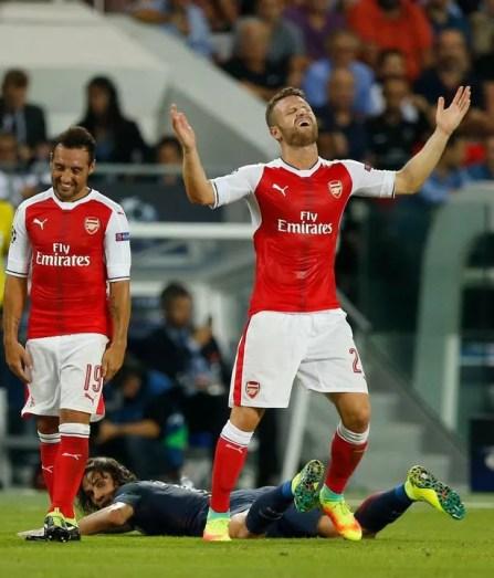 Arsenal's Shkodran Mustafi reacts