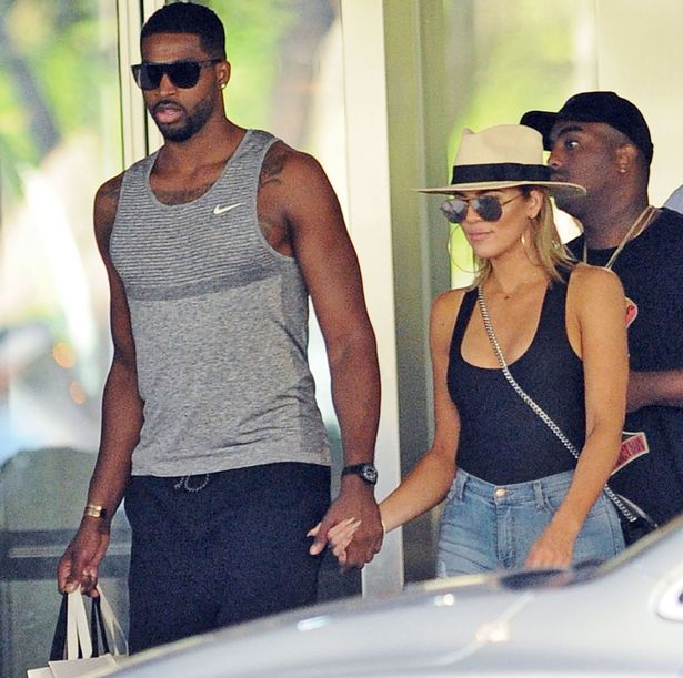 Khloe Kardashian and Tristan Thompson at Bal Harbor Shops in Bal Harbor, Florida