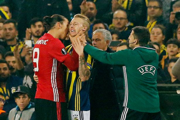 Zlatan Ibrahimovic clashes with Simon Kjaer
