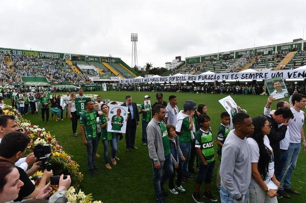 Relatives of the members of the Chapecoense Real football club