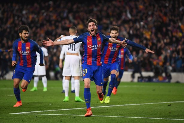 Image result for Fc barcelona celebrating against PSG