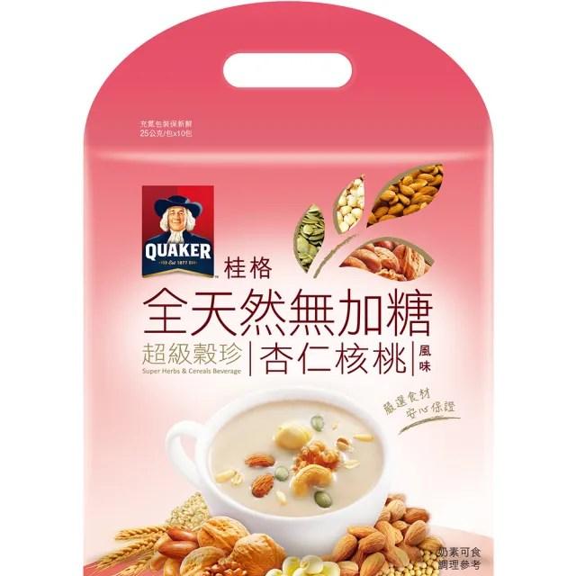 【QUAKER 桂格】全天然100%無加糖超級穀珍系列-杏仁核桃(25g*10入 可冰沖)