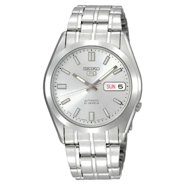 【SEIKO 精工】日製5號機械男錶 不鏽鋼錶帶 銀 防水 星期/日期顯示(SNKE83J1)