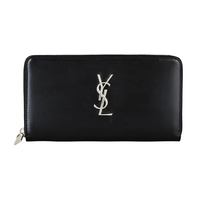 【YSL】YSL Classic經典銀字LOGO光滑小牛皮拉鍊長夾(黑)