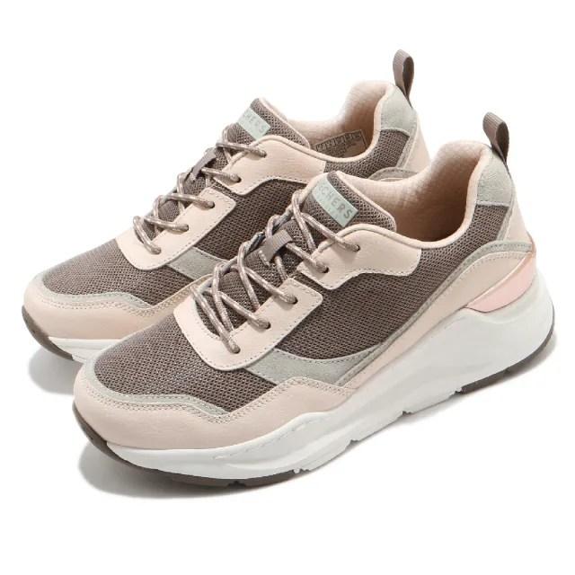 【SKECHERS】休閒鞋 Rovina 厚底 耐磨 老爹鞋 女鞋 異材質拼接 修飾腿型 泡棉鞋墊 粉 棕(155011TPNT)