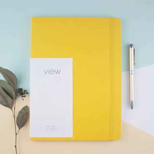 【綠的事務用品】眼色View-16K精裝空白筆記本-黃