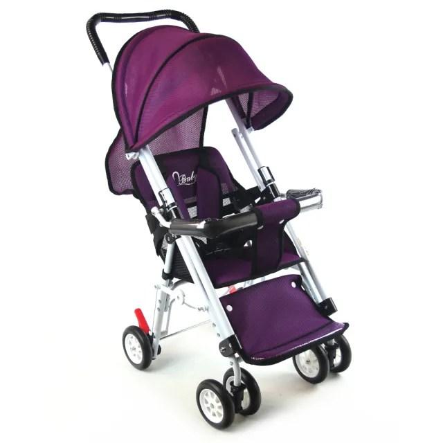 【S-Baby】第三代五點式安全帶輕便型推車-紫(可變座椅)