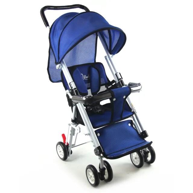 【S-Baby】第三代五點式安全帶輕便型推車-藍(可變座椅)