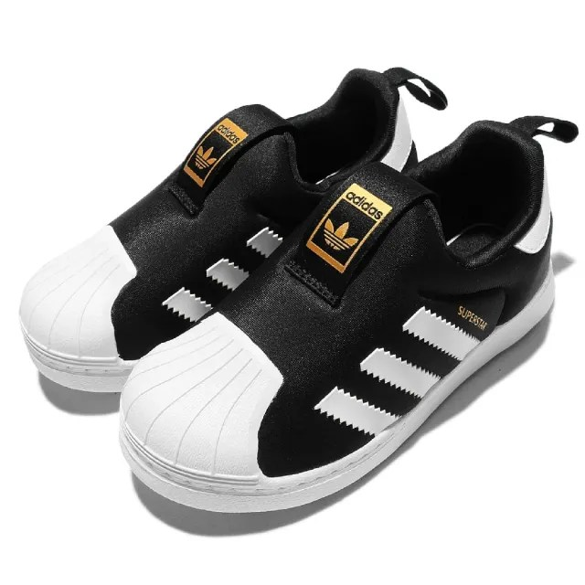 【adidas 愛迪達 】童鞋 休閒鞋 Superstar 360 套腳 運動 愛迪達 穿脫方便 金標 球鞋 小童 黑 白(S82711)