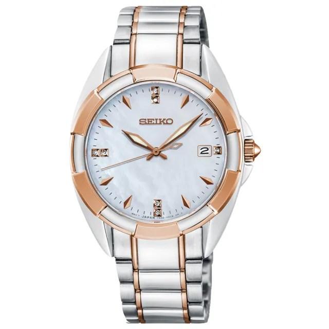 【SEIKO 精工】奢華晶鑽白蝶貝藍寶石夜光石英女錶(SKK888P1)