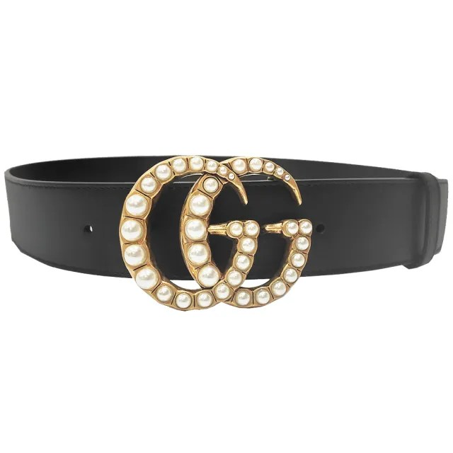 【GUCCI 古馳】453260 甜美淑女珍珠款GG皮帶珍珠雙G LOGO皮帶(黑-寬版)
