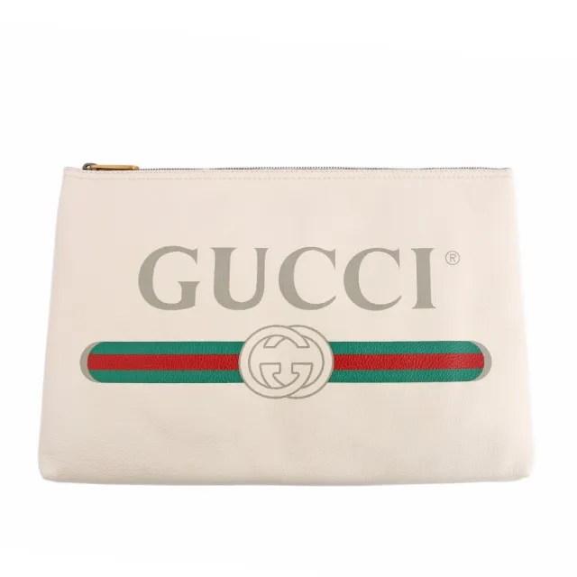 【GUCCI 古馳】小牛皮復古綠紅綠LOGO手拿包(白色)