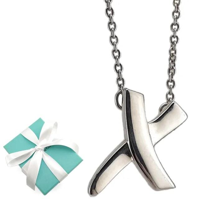 【Tiffany&Co. 蒂芙尼】KISS系列-X塗鴉符號墜飾925純銀項鍊