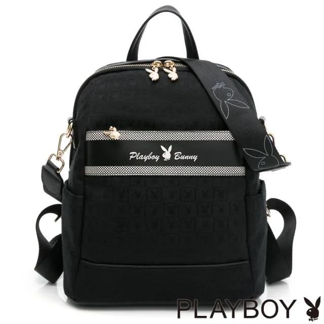 【PLAYBOY】後背包可肩背 Square方格兔緹花系列(黑色)