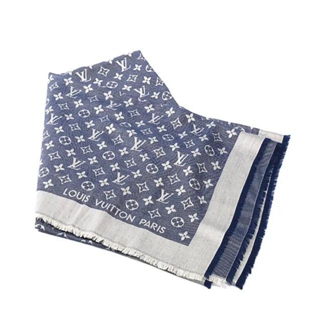 【Louis Vuitton 路易威登】M71376 Monogram DENIM 披巾(藍色)