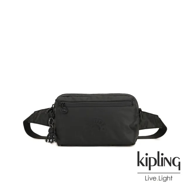 【KIPLING】低調質感霧黑方形腰包-HALIMA