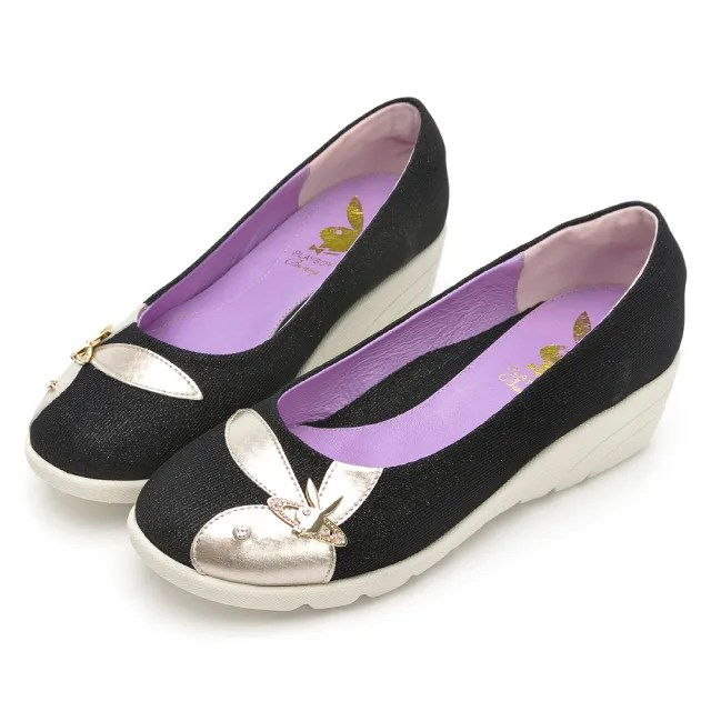 【PLAYBOY】GOPLAY走不累增高娃娃鞋-黑-Y7297CC