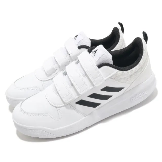 【adidas 愛迪達 】童鞋 慢跑鞋 Tensaurus C 運動休閒 女鞋   愛迪達 皮革鞋面 魔鬼氈 中大童 白 黑(EF1093