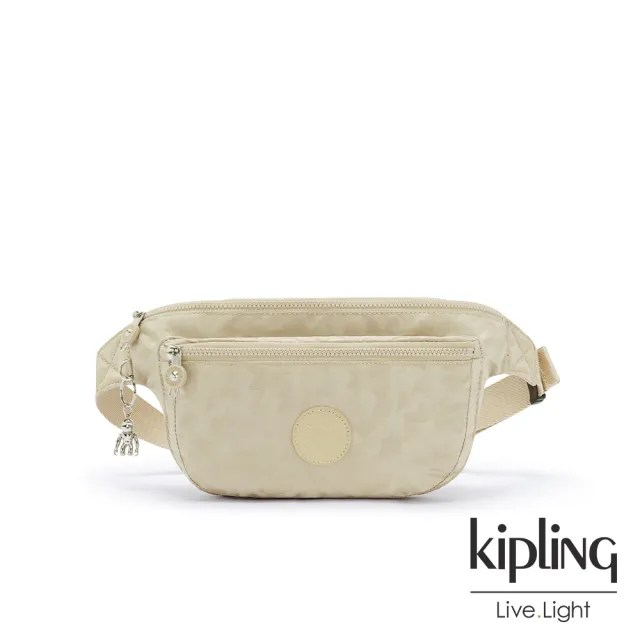 【KIPLING】奶油鬆餅色雙拉鍊大容量腰包-YASEMINA XL