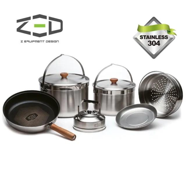 【ZED】戶外不鏽鋼鍋具組II L ZBACK0304(304不銹鋼、三層式鍋面、鑽石塗層、附贈收納袋)
