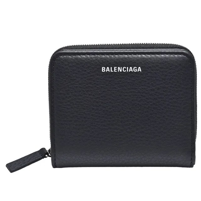 【Balenciaga 巴黎世家】經典字母LOGO小牛皮暗釦短夾(黑551933-DLQ0N-1000)