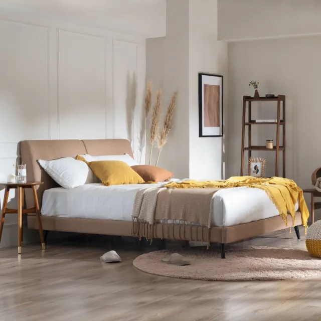 【FL 滿屋生活】FL Rye 小麥 - 6尺米棕雙背靠實木高背床架(實木床架/繃布床架/人氣款/雙人加大/6X6.2尺)