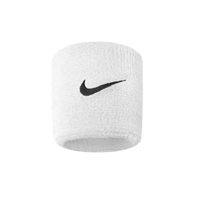 【NIKE 耐吉】Nike Swoohs 運動 打球 健身 單色 護腕 腕帶 吸濕 排汗 乾爽 彈性 2入 白(NNN04101OS)
