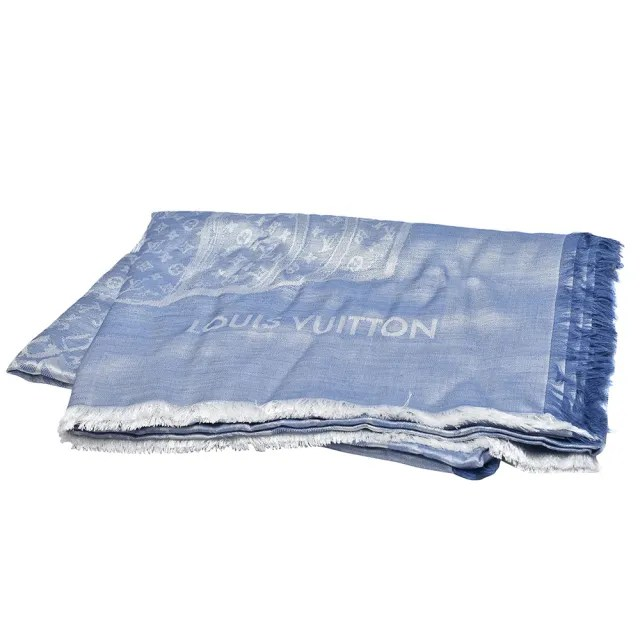 【Louis Vuitton 路易威登】MR0168經典Monogram花紋羊毛混絲大披肩(藍色)