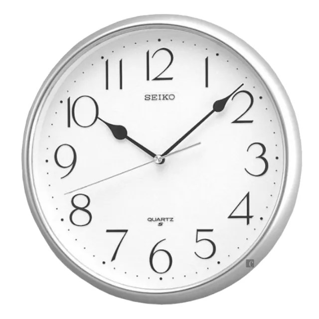 【SEIKO 精工】指針式靜音掛鐘-銀框(QXA001S)