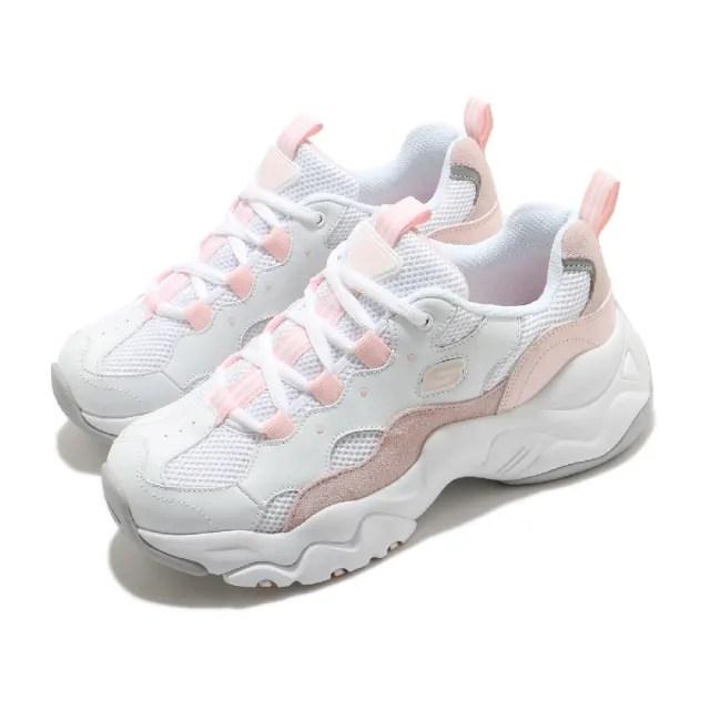 【SKECHERS】休閒鞋 D Lites 3 厚底 老爹鞋 女鞋 記憶型泡棉鞋墊 麂皮 皮革 修飾 白 粉(88888210WLPK)