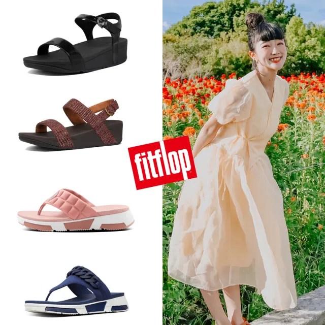 【FitFlop】LAURA IRIDESCENT SCALE BACK-STRAP SANDALS 珍珠光後帶涼鞋-女(靚黑色)