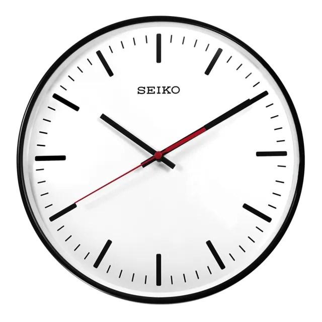 【SEIKO 精工】簡約時尚 球面型鏡面 滑動式秒針 餐廳客廳臥室 靜音掛鐘(白x黑框 / QXA701K)