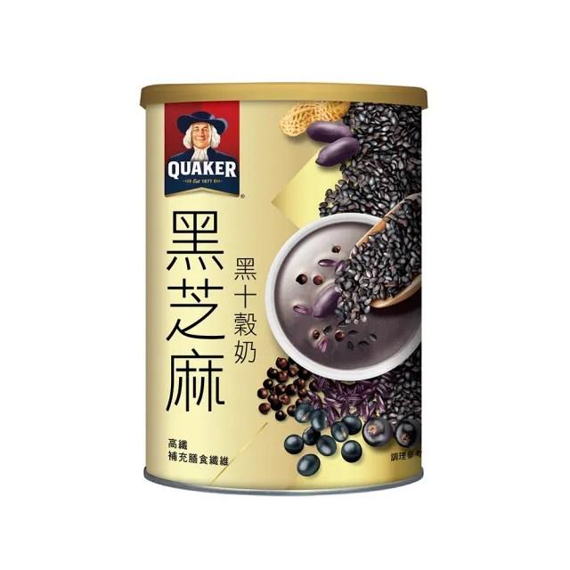 【QUAKER 桂格】美味早餐組-全素可食(穀添樂 濃郁花生脆穀 300g*12盒+黑芝麻黑十榖奶 390g*1罐)
