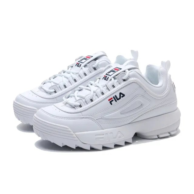 【FILA】休閒鞋 DISRUPTOR 2 全白 鋸齒 經典 老爹鞋 女(4C608U125)