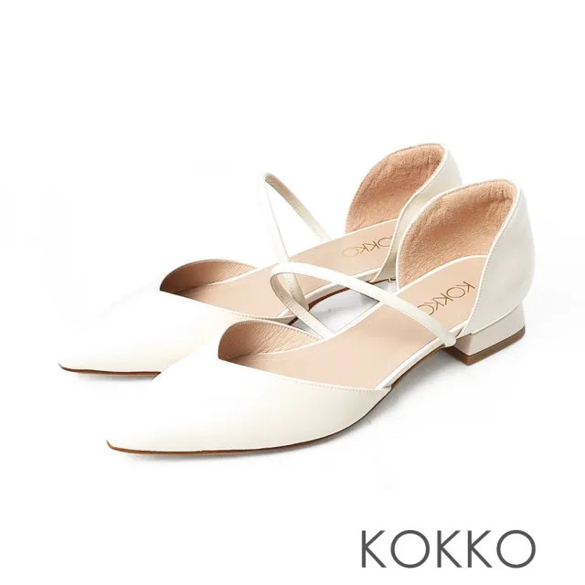 【KOKKO 集團】小方頭柔軟羊皮兩截中空粗跟鞋(椰奶米)