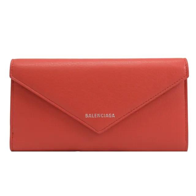 【Balenciaga 巴黎世家】經典LOGO小羊皮信封造型發財長夾(紅)