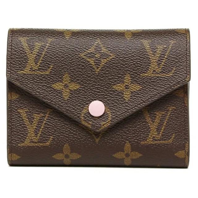 【Louis Vuitton 路易威登】LV M62360 Victorine系列Monogram帆布印花三折暗扣信封短夾 芭蕾粉