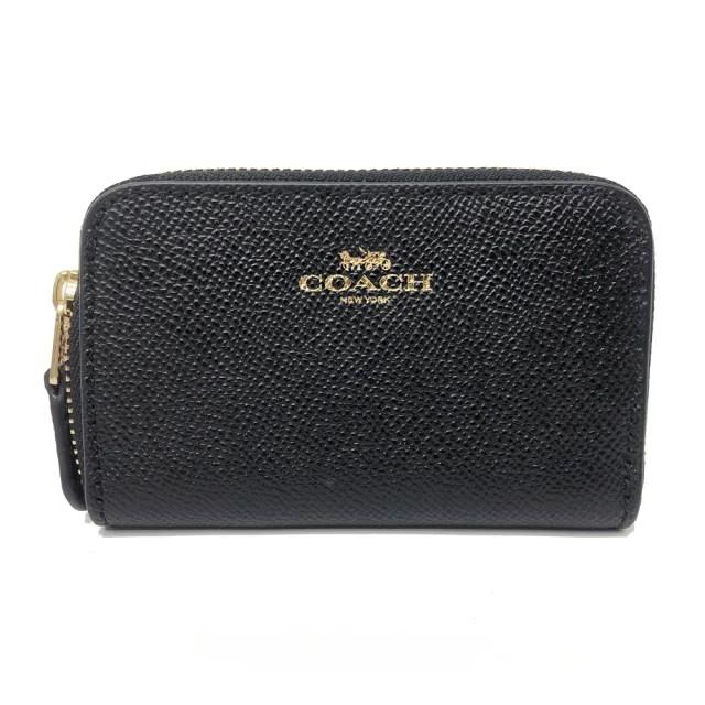【COACH】經典LOGO素面ㄇ型單層零錢包(黑)